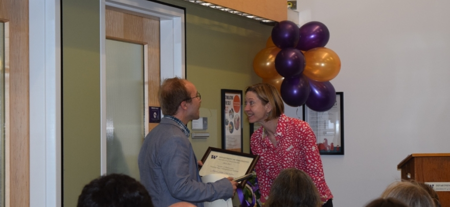 Outstanding Undergraduate Scholar Award - Johan Michalove with Chair Andrea Woody