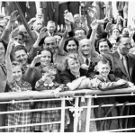 An AP photo from June 1939 shows German Jewish refugees returning to Belgium after being denied entry to Cuba and the US.