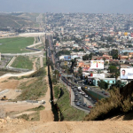 Border between San Diego, California, and Tijuana, Mexico.  http://www.ngb.army.mil