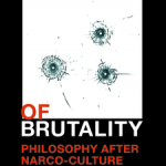 Book cover - A Sense of Brutality (photo of bullet holes in glass)