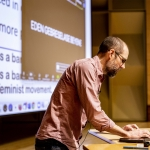 Ian Schnee teaching to empty lecture hall in March 2020