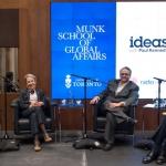 Left to right: Randall Hansen, Janice Stein, Michael Blake & Stephen Toope.