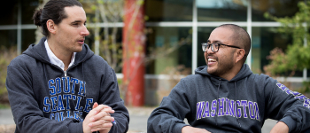 Paul Tubig and faculty mentor Anthony Ferrucci in conversation