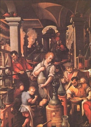 Distillatio, Jan van der Straet (1523-1605), late 16th cent. Image courtesy of: http://www.levity.com/alchemy/derstrae.html
