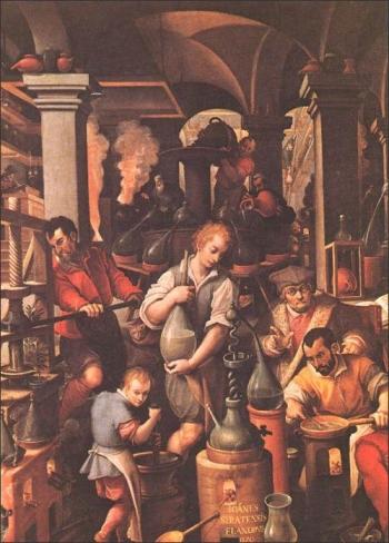 Distillatio, Jan van der Straet (1523-1605), late 16th cent. Image courtesy of: http://www.levity.com/alchemy/derstrae.html
