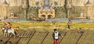 Painting of feudal peasant working in field in front of castle