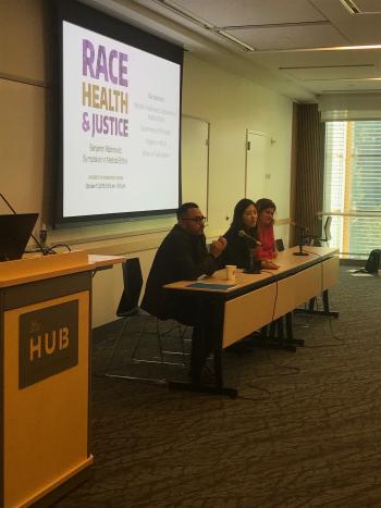 Photo of Panel: Julio Covarrubias, Jane Lee, and India Orneals