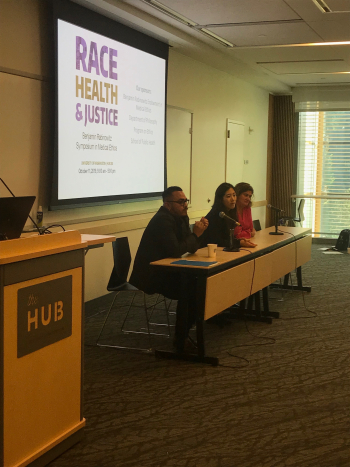 Photo of Panel: Julio Covarrubias, Jane Lee, and India Orneals