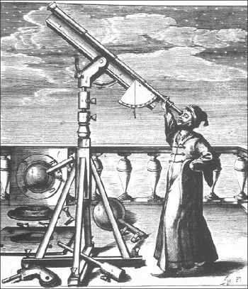 Johannes Hevelius observing with one of his telescopes. Image courtesy of: http://galileo.rice.edu