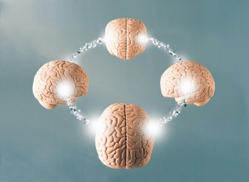 illustration of four brains that are connected to each other