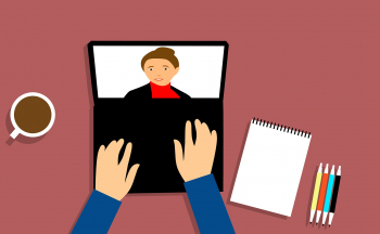 Illustration of hands on a keyboard participating in webinar