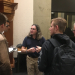 David Wallace talking with students post-lecture